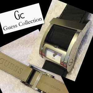 Guess Collection Black Leather Modern Watch